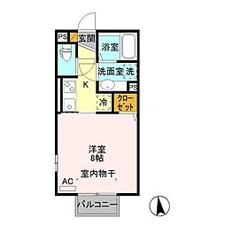 JR信越本線 北高崎駅 徒歩37分の賃貸アパート 2階1Kの間取り