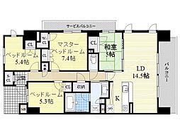 阪急千里線 山田駅 徒歩4分の賃貸マンション 3階4LDKの間取り