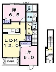 埼玉県川越市並木の賃貸アパートの間取り