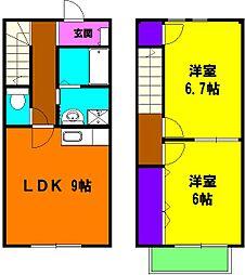 [テラスハウス] 静岡県浜松市東区半田山5丁目 の賃貸【/】の間取り
