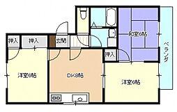 広島県広島市安佐南区祇園3丁目の賃貸アパートの間取り