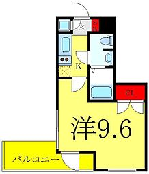 ビバリーホームズ赤塚公園II 3階1Kの間取り