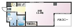 エスキュート魚崎 5階ワンルームの間取り