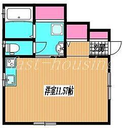 JR中央線 吉祥寺駅 バス10分 新川野村病院前下車 徒歩1分の賃貸アパート 1階ワンルームの間取り