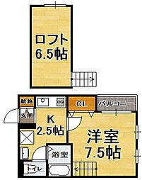 福岡県福岡市中央区春吉3丁目の賃貸アパートの間取り