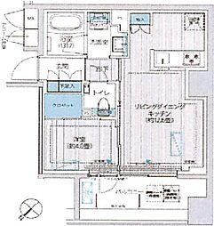 イニシア築地レジデンス 7階1LDKの間取り