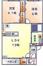 Mハイツ高砂21 3階2LDKの間取り