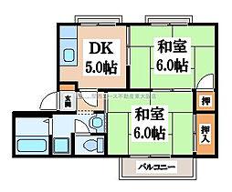 大阪府東大阪市横小路町6丁目の賃貸アパートの間取り