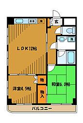 東京都小平市上水本町の賃貸マンションの間取り