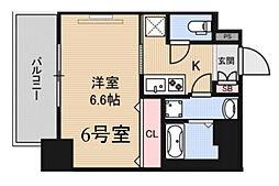 JR東西線 海老江駅 徒歩8分の賃貸マンション 2階1Kの間取り