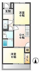 岐阜県加茂郡富加町羽生の賃貸アパートの間取り