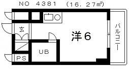 パレ・ダイト谷町[4階]の間取り