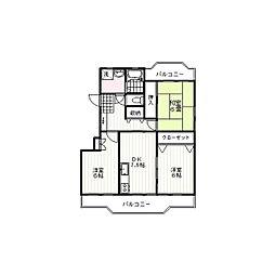 JR東海道本線 沼津駅 バス7分 ダイハツ前下車 徒歩3分の賃貸マンション 4階3DKの間取り