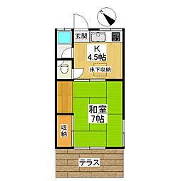 東京都狛江市中和泉5丁目の賃貸アパートの間取り