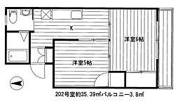 加山マンション[202号室]の間取り