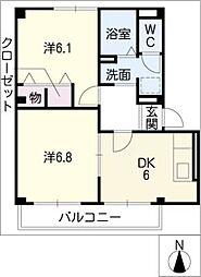 ハラマキハイツC棟[2階]の間取り