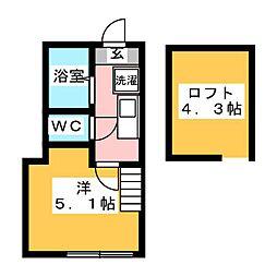 アザーレ・クオン多摩美 2階1Kの間取り