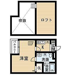 愛知県名古屋市中村区並木2丁目の賃貸アパートの間取り