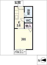 塩野アパートB[2階]の間取り