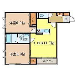 大阪府河内長野市西之山町の賃貸アパートの間取り