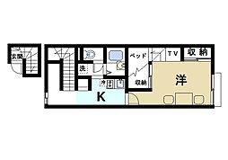 近鉄天理線 前栽駅 徒歩15分の賃貸アパート 2階1Kの間取り