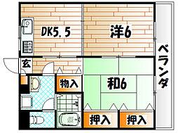 福岡県北九州市若松区用勺町の賃貸マンションの間取り