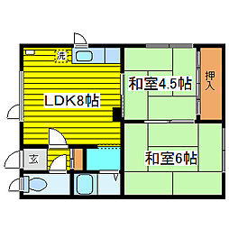 居鶴邸アパート[1号室]の間取り