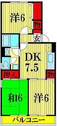 埼玉県越谷市下間久里の賃貸アパートの間取り