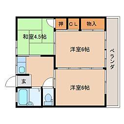 静岡県静岡市葵区平和3丁目の賃貸マンションの間取り