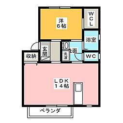 ラ ヴィータ ミユキ 1階1LDKの間取り