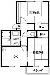 大阪府東大阪市上四条町の賃貸アパートの間取り