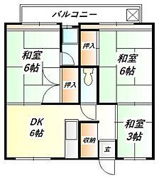 ビレッジハウス鈴蘭台[3階]の間取り