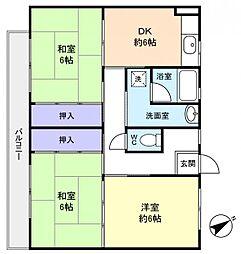 ビレッジハウス古和釜6号棟[3階]の間取り