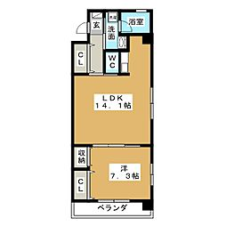 静岡県静岡市駿河区用宗2丁目の賃貸マンションの間取り