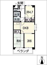 GRANDEUR NISHIKAWATE[4階]の間取り