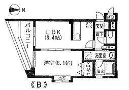 パラディス小笹[6階]の間取り