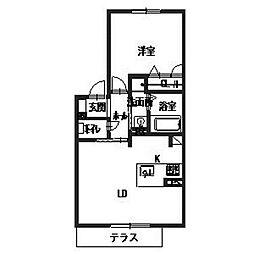 シャーメゾン赤い屋根[103号室]の間取り