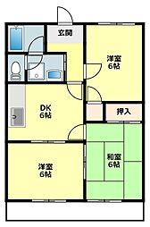 愛知県岡崎市大門4丁目の賃貸アパートの間取り