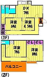 [一戸建] 埼玉県越谷市宮本町2丁目 の賃貸【/】の間取り