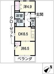 グリーンハイム三軒[4階]の間取り