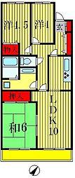 河北松戸ハイツ[3階]の間取り