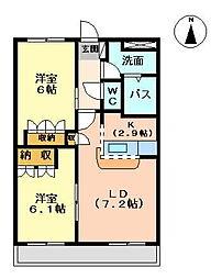 ロイヤルヒル岩松 II[205号室]の間取り