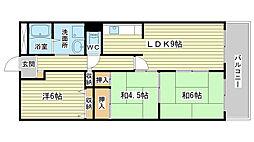 兵庫県姫路市飾磨区城南町2の賃貸アパートの間取り