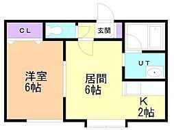 コーポ川村 2階1LDKの間取り