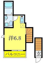 東武東上線 東武練馬駅 徒歩5分の賃貸アパート 2階ワンルームの間取り