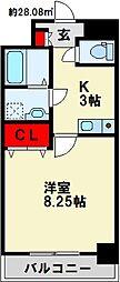 紺二ビル 6階1Kの間取り