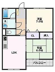 キープロハイツII 3階2LDKの間取り