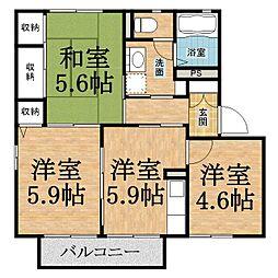 千葉県千葉市緑区あすみが丘東2の賃貸アパートの間取り