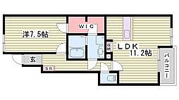 JR赤穂線 播州赤穂駅 徒歩13分の賃貸アパート 1階1LDKの間取り