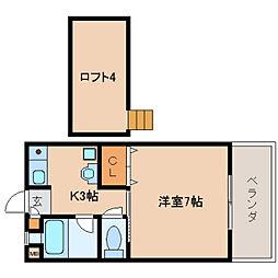 奈良県生駒市北新町の賃貸マンションの間取り